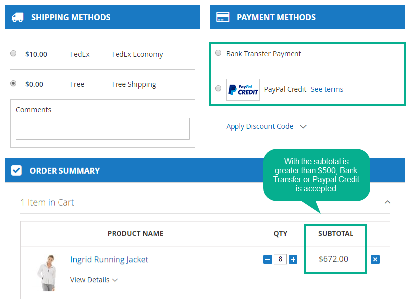 Magento 2 payment suite restrict payment methods based on cart subtotal