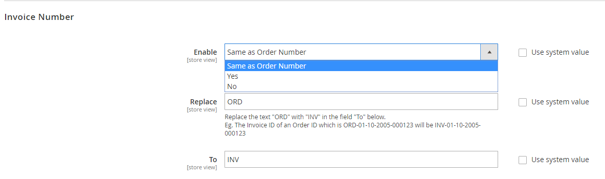 Invoice number/ Creditmemo Number/ Shipment number