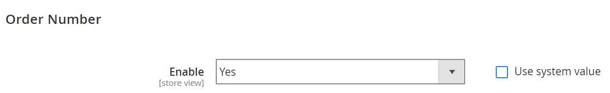 Order Number general configuration