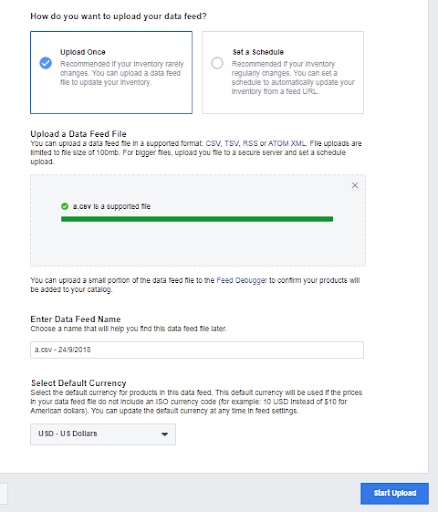 Upload Facebook product feed