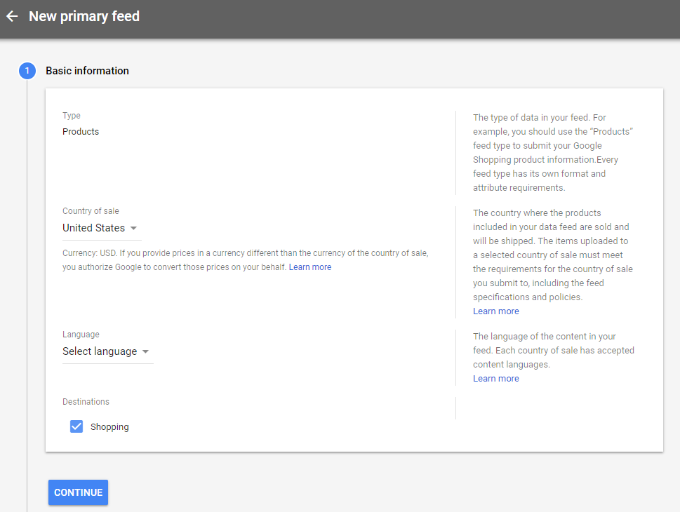 Insert the information at New primary google shopping feed