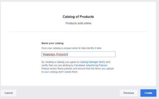 Create a Facebook catalog product