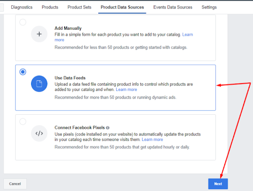 Add a new primary Facebook product feed