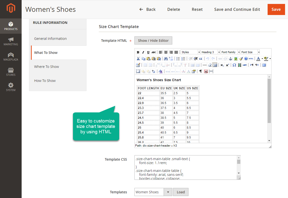 customize size chart for Magento 2