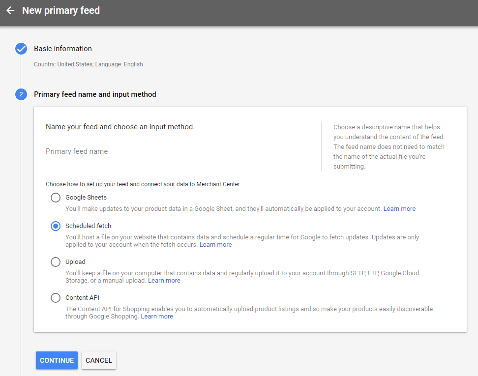 Primary google shopping feed name and input method
