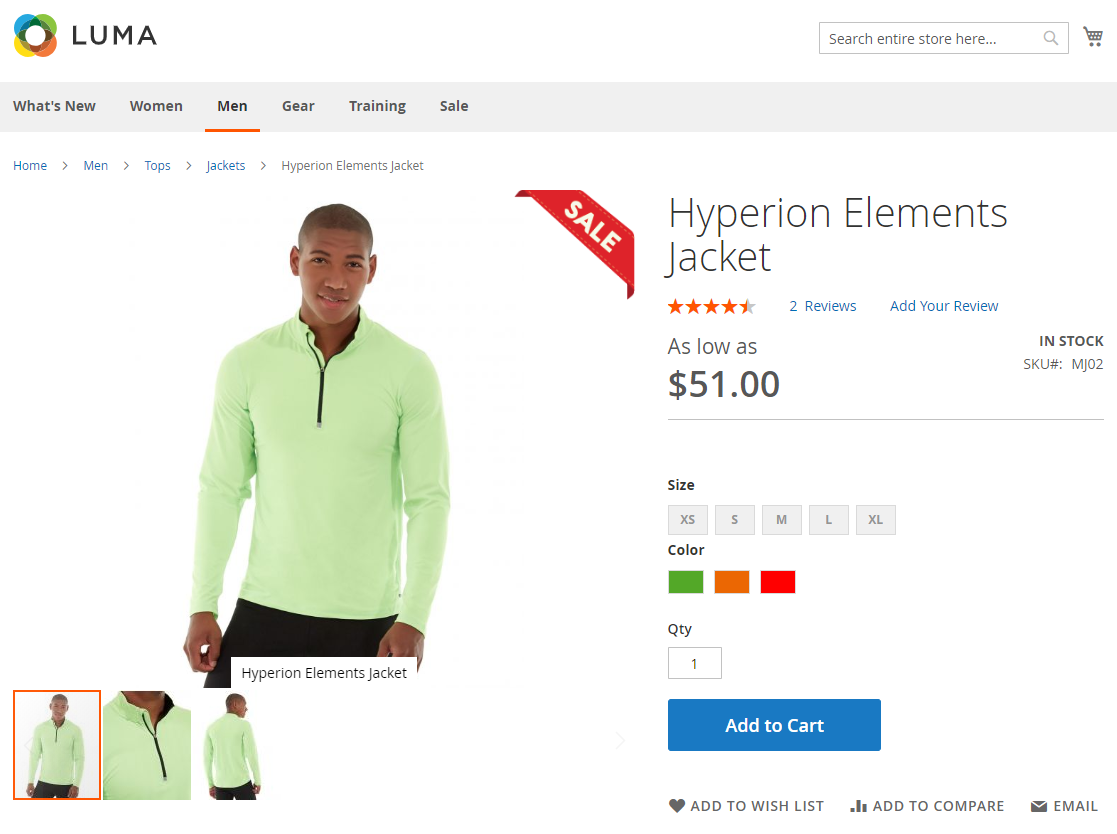 Display on the Product Page