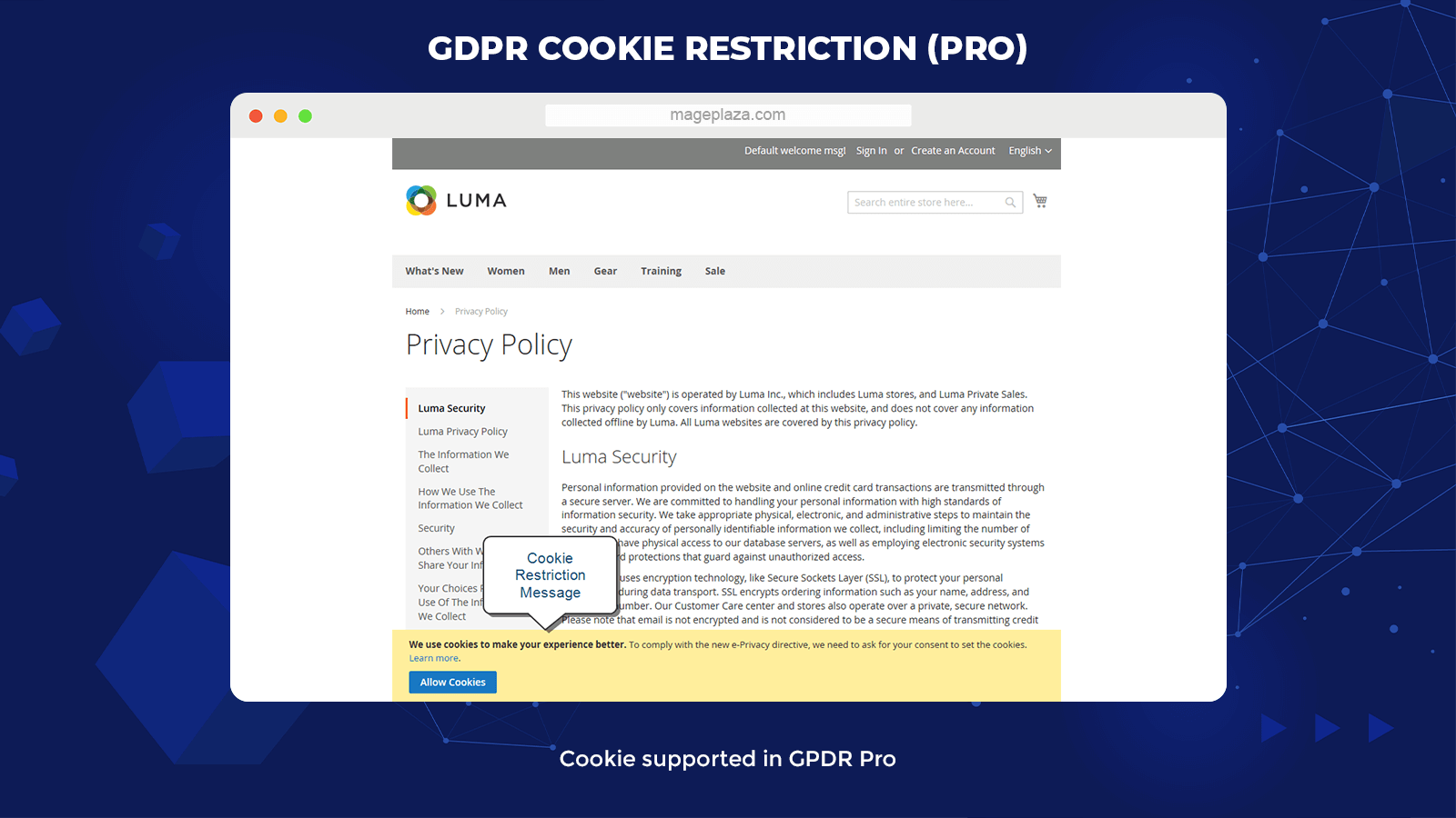 Magento 2 GDPR Pro Cookie restriction
