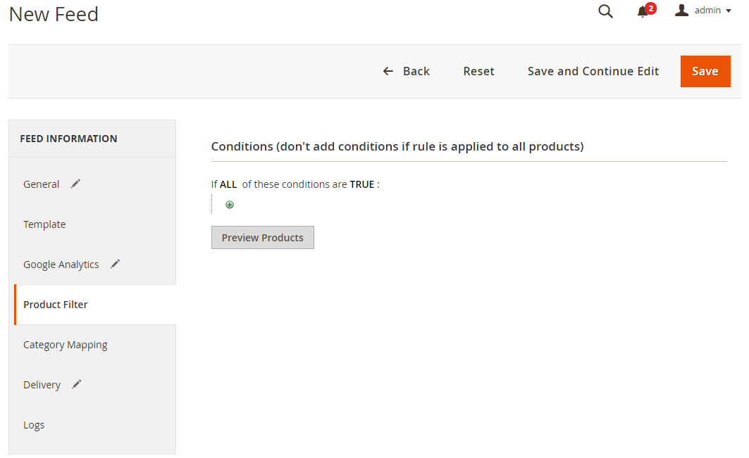 Select the conditions to export files for Google shopping