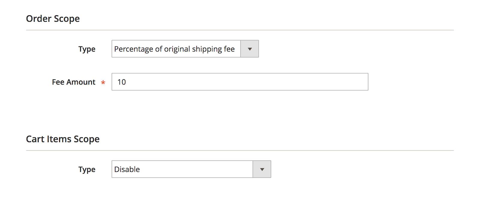 Percentage of original shipping fee