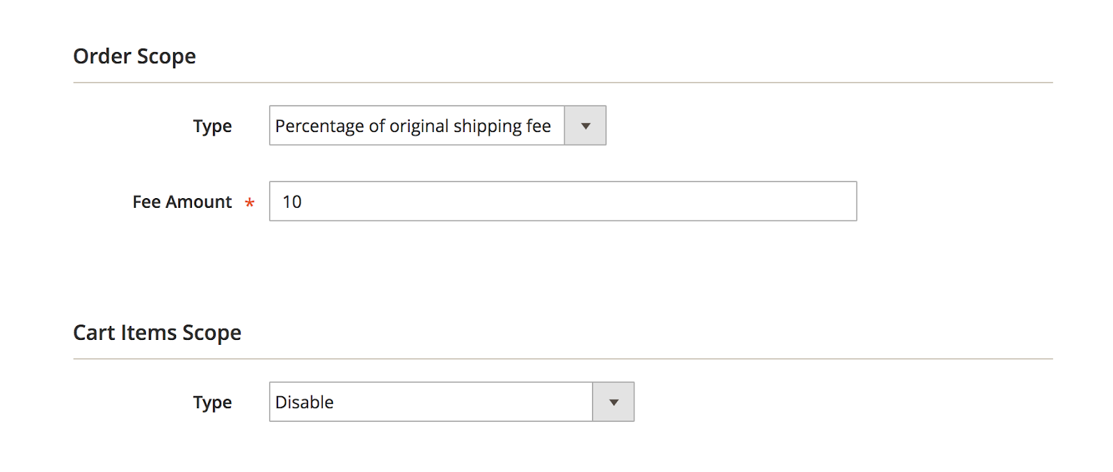 Set Percentage of original shipping fee