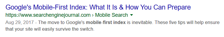 well-written content title and meta description as it appears in a Google search result