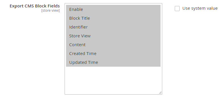 Export cms block Fields