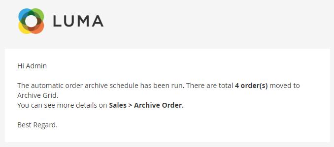 Configure Order Archive 5