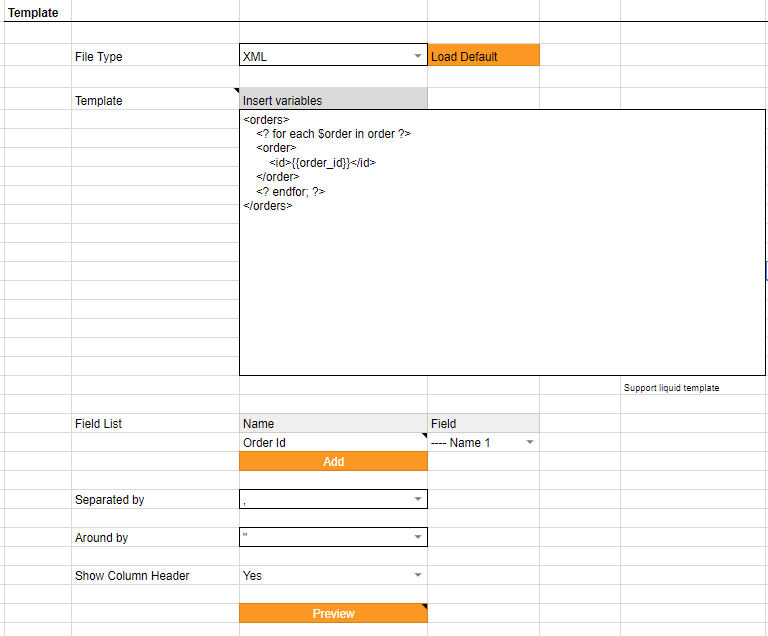 Ability to export orders in available templates