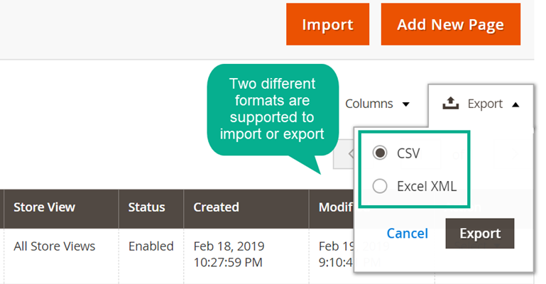 Import Export CMS