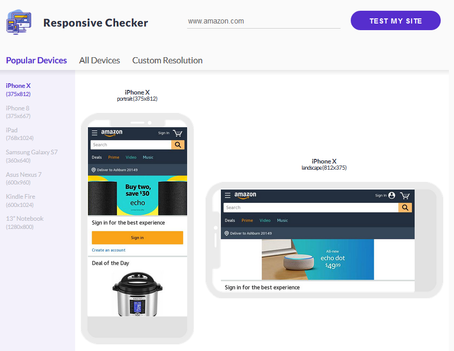Using the Responsive Checker Tool