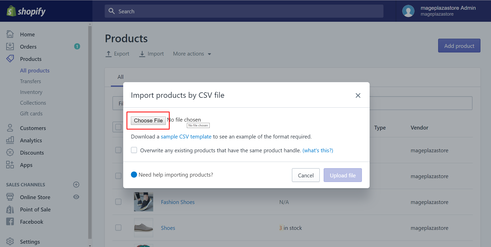 how to import products with a CSV file on desktop