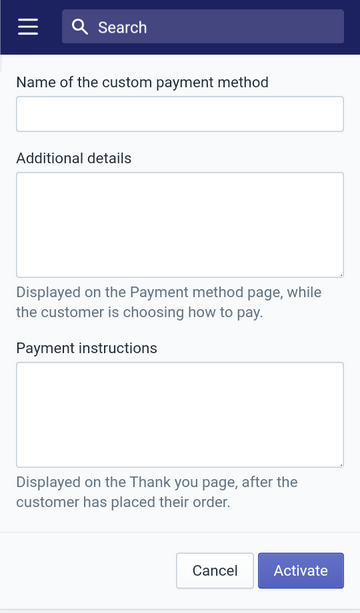create a custom manual payment method