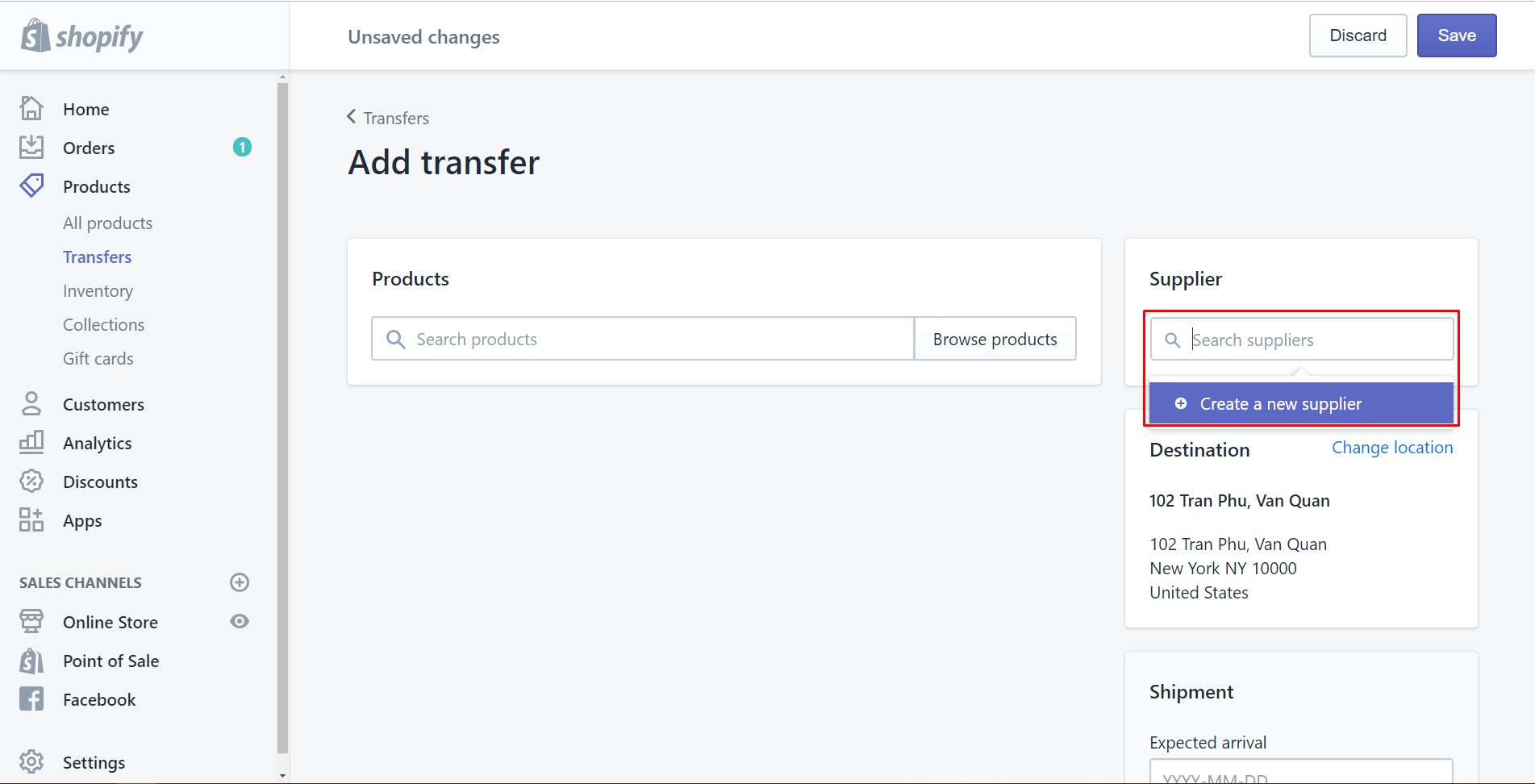 how to create a transfer
