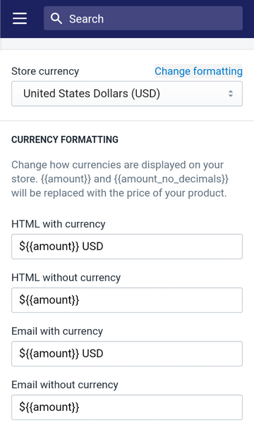 change your currency formatting