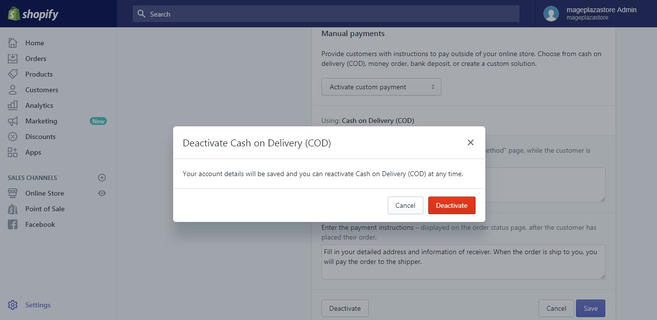 deactivate a manual payment method