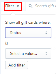 how to filter cards on shopify