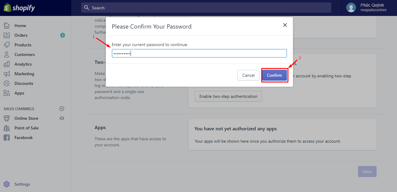 How to enable two-step authentication for a staff account on desktop 4