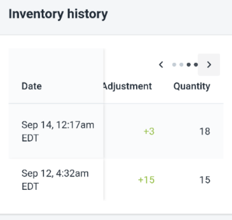 To view a product's inventory history on Android 6