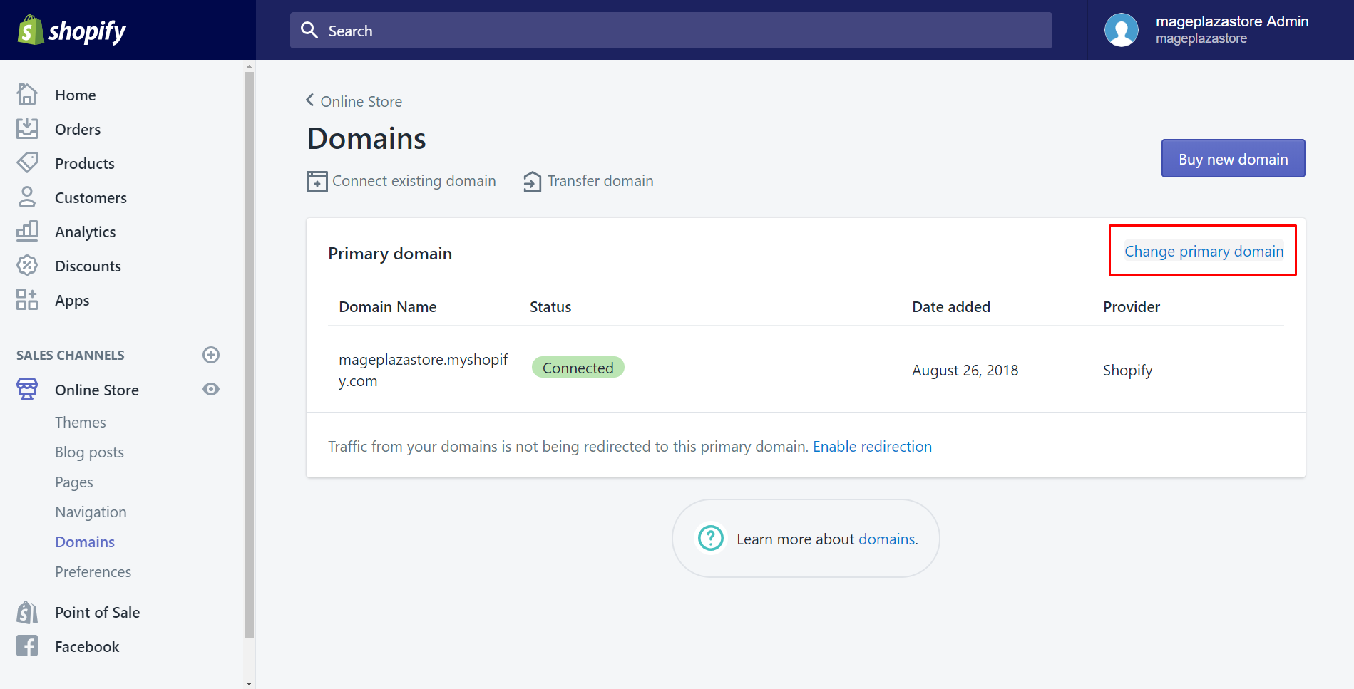 how to set your primary domain
