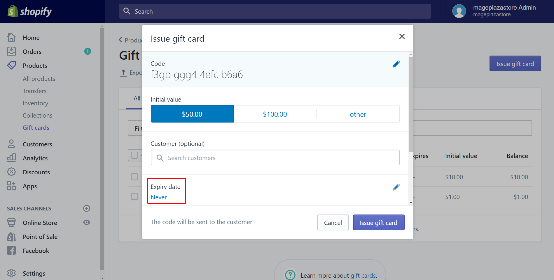How to issue a Gift Card on Shopify