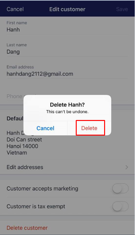 how to delete customers