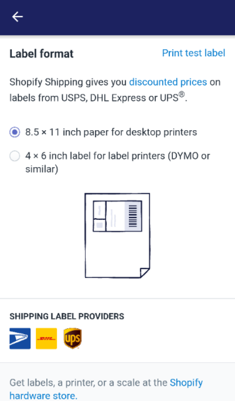 To choose label printer on Android 3