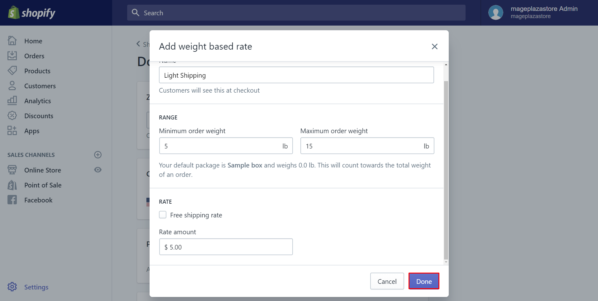 how to add weight-based manual rates