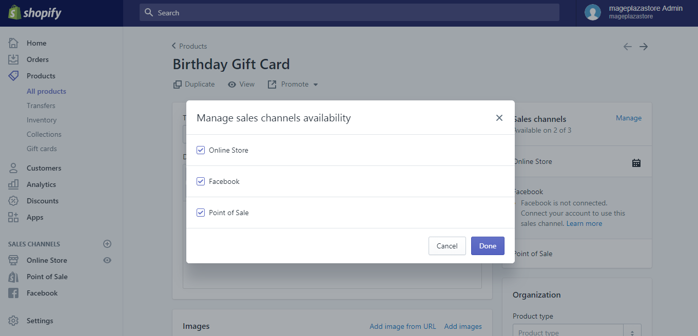 how to publish the gift card product on shopify