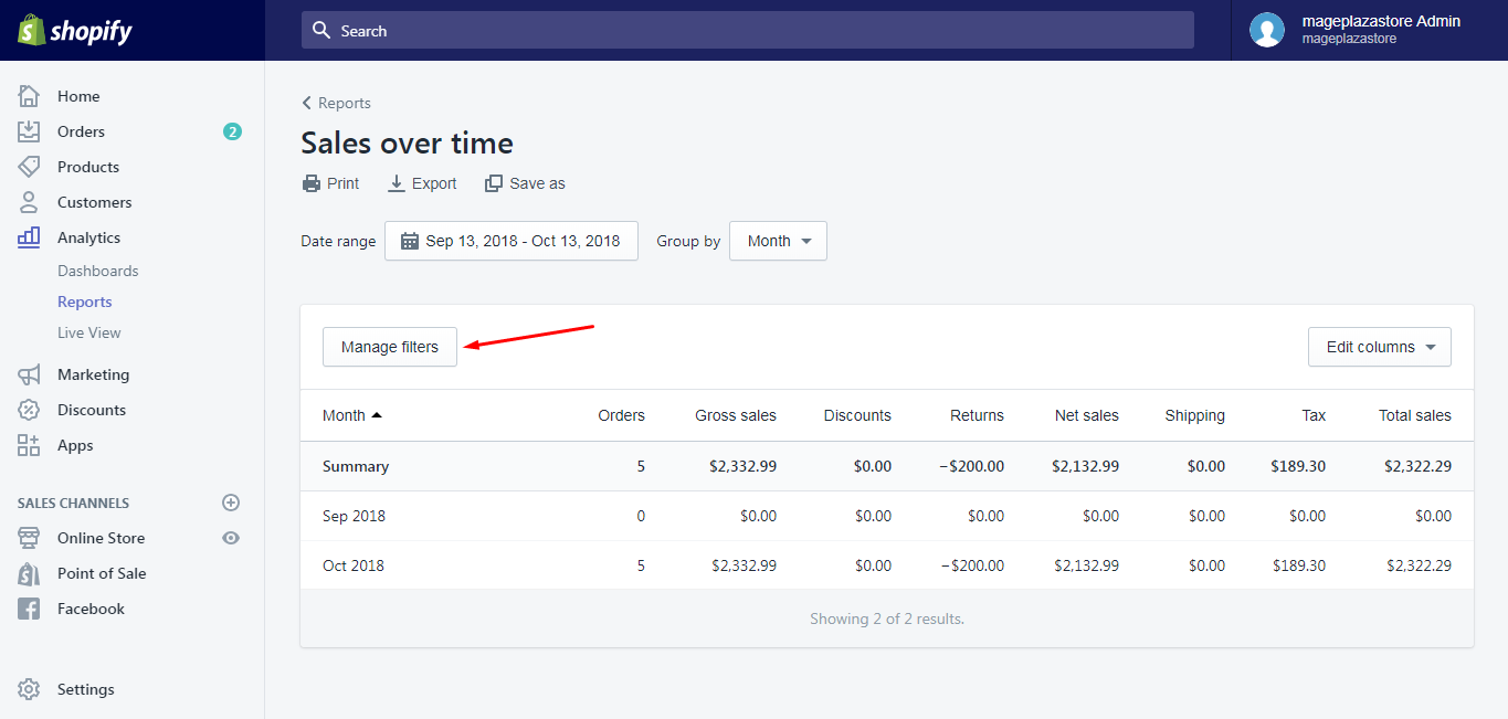 filter your reports shopify
