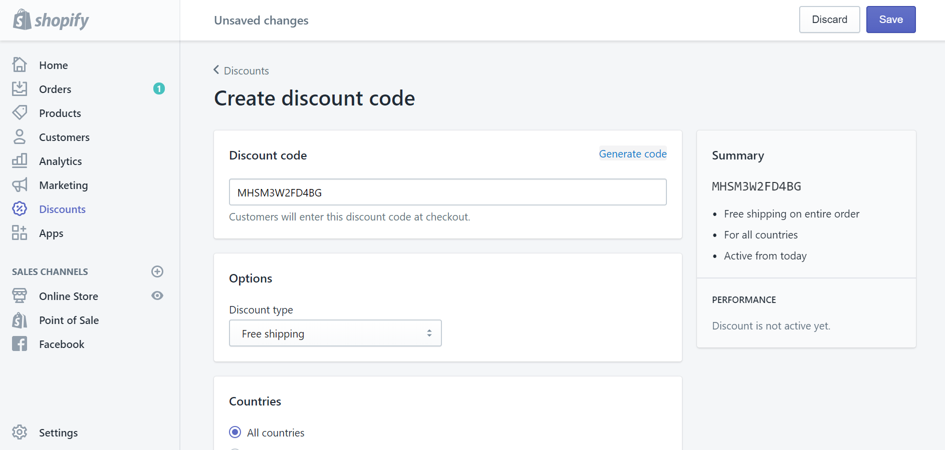 How to create a free shipping discount