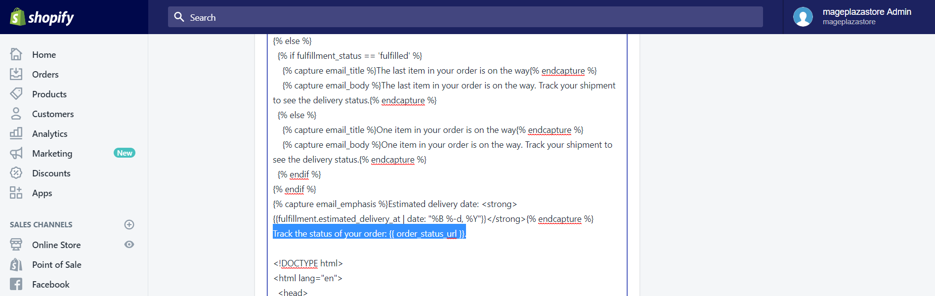 To manually add the order status URL to your email templates on Desktop 4