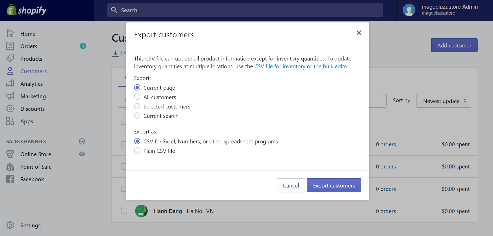 How to export existing customers to a CSV file