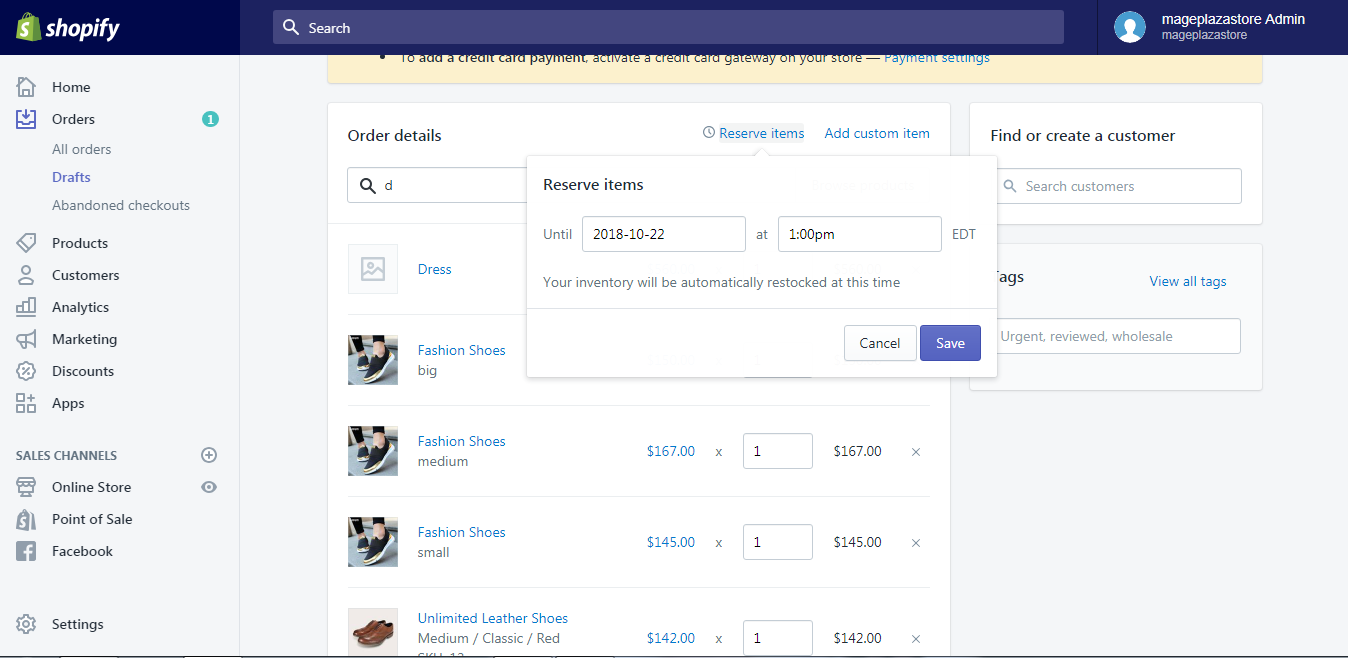 To add products to a draft order on desktop 5
