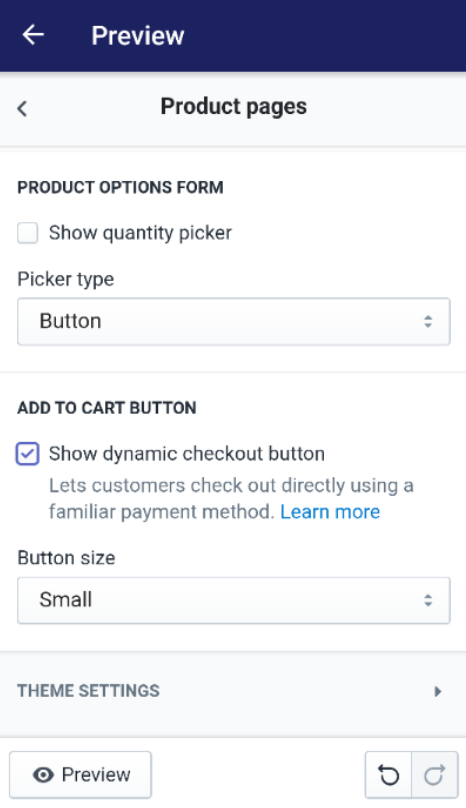 How to show dynamic checkout buttons for some products but not for others on Android 8