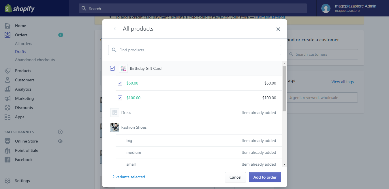 To add products to a draft order on desktop 2