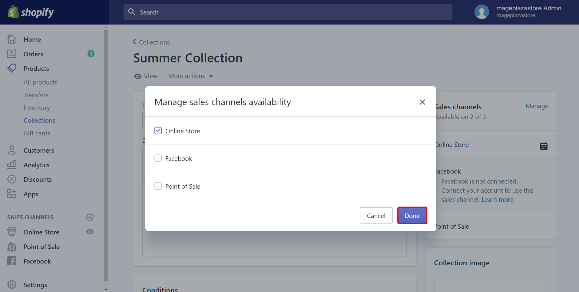 how to change the availability of a collection on desktop