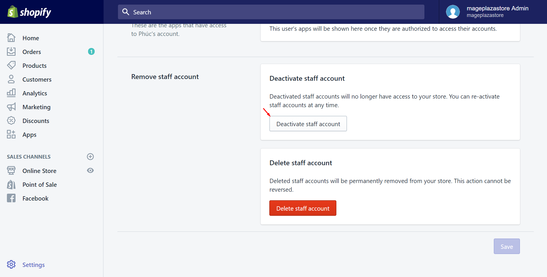How to deactivate a staff account