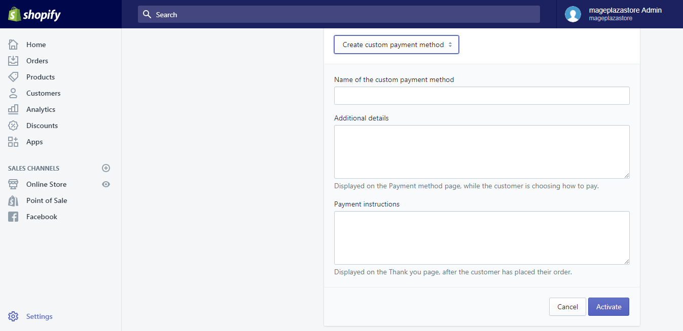 create a custom manual payment method