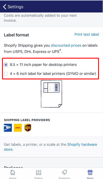 how to print a test label