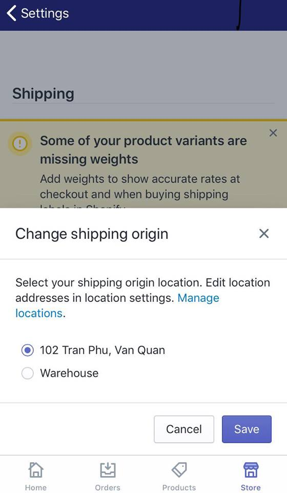 add a shipping origin address