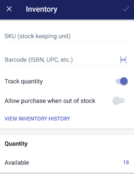 To view a product's inventory history on Android 5
